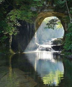 Noumizo Waterfall (濃溝の滝) or Kameiwa Cave (亀岩の洞窟) is located in Kimitsu city in Chiba prefecture of Japan Beautiful World, Beautiful Places, Wonderful Places, Beautiful Scenery, Amazing Things, Nature Aesthetic, Nature Pictures, Nature Images, Travel Pictures
