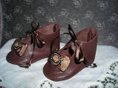 """Doll Shoes for Antique German Bisque DOLL2 5 8"""" x 1 3 8""""All Leather Gold Buckles 
