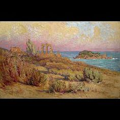 Peinture d'Algérie - Peintre Français, Leon Geille de Saint Leger, (1864-1937), Aquarelle et Huile sur papier , Titre : Ruines romaines à Tigzirt.