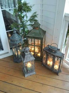 Our Front Porch Lanterns I love this! This is such a beautiful classy, vintage, country, homey feeling! Come inside! Porch Lanterns, Lanterns Decor, Decorating With Lanterns, Small Front Porches, Decks And Porches, Front Porch Lights, Diy Front Porch Ideas, Solar House Numbers, Building A Porch