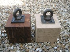 Wooden door stops that Ade has just made from some salvaged oak. The one on the left has just been soaked with linseed oil to give it this lovely rich colour...the other is just left plain.