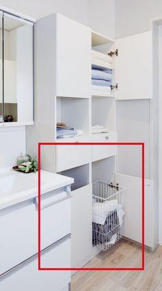 脱衣室、洗濯機置き場の収納、絶対作っておきたい造り付け家具ベスト5 | クレバInfo|くらし楽しく快適に賢い住まいのヒント Life Design, House Design, Room Closet, Small Storage, Laundry Room, Shelves, Bathroom, House Styles, Interior
