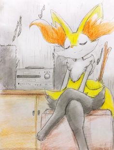 Braixen listening to music Kalos Pokemon, Pokemon Oc, Pokemon Eeveelutions, Pokemon Comics, Pokemon Fan Art, Cool Pokemon, Charizard, Pokemon Game Characters, Pokemon Ash And Serena