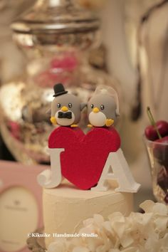 Penguins with the initials letters wedding cake topper #wedding cake #red heart