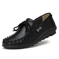 Genuine Leather Metal Lace Up Pure Color Soft Loafers