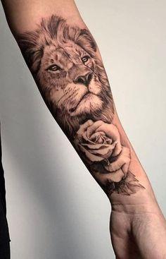 15+ Cool Lion Tattoo Designs   PetPress Lion Tattoo Sleeves, Forearm Sleeve Tattoos, Best Sleeve Tattoos, Sleeve Tattoos For Women, Lion Head Tattoos, Leo Tattoos, Animal Tattoos, Tatoos, Lion Tattoo On Thigh
