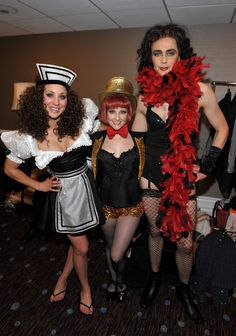 Jim Parsons, Kaley Cuoco, and Melissa Rauch (cast of The Big Bang Theory) dress as Rocky Horror Picture Show characters, posing backstage at the 21st Annual benefit for the Alzheimer's Association 3/20/13.