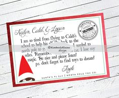 ELF on the Shelf Notes Printables: Custom Personalized Note by kimberlyelaine on Etsy https://www.etsy.com/listing/215338087/elf-on-the-shelf-notes-printables-custom