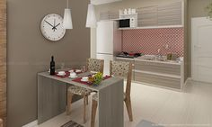 Sala de Jantar Conjugada com Cozinha Completa com Mesa/Bancada e 2 Cadeiras Nobre/Branco/Ravena/Amêndoa/Floral Colorido - Caaza