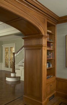Sarah Blank Design Studio - Interior Designer in Greenwich, CT, 06830 Living Room Partition Design, Pooja Room Door Design, Room Partition Designs, House Arch Design, House Ceiling Design, Wooden Front Door Design, Wood Design, Archways In Homes, Drawing Room Ceiling Design