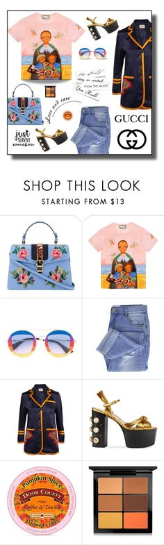 """Keep Families Together"" by neverboring ❤ liked on Polyvore featuring Gucci, Taya, MAC Cosmetics, floralprint, boyfriendjeans and gucci"