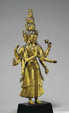 A Gilt Bronze Figure of an Eleven-Headed Avalokiteshvara, Tibet, 15th-16th century