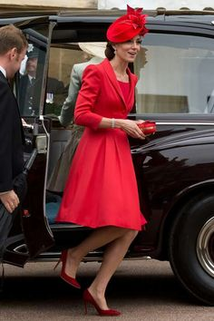 The Duchess of Cambridge wore a red Catherine Walker coat this afternoon as the Queen continued her birthday celebrations.