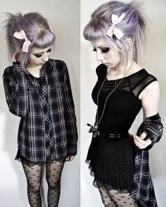 I love the idea of pairing printed tights with plaid! Also the bow is a cute contrast