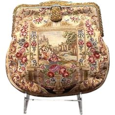 Vintage Micro Petit Point Tapestry with Jeweled and Enameled Frame---French Bag Shop