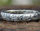 Size 5 - Sterling Silver Wedding Band - Floral - 4 mm Wide