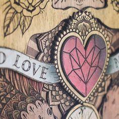 'Old Love, New Life' a commission artwork I did recently.  Here is a detailed shot. #kieltillmanart #laser #laseretch #laserengraved #lasercut #spraypaint #heart #instaart #instagood #art #artoftheday #banner #illustration #layered #design #woodart #wood #timber