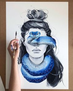 : Blue Snake Blindfolded Girl Art Print Fashion Woman Etsy - High Quality Watercolor Art Print Made On Archival Matte Paper By Using Thick Cotton Fine Art Paper With A Smooth Texture And Unique Slight Grain Weve Managed To Achieve Prints Reminiscent Of Th Arte Shiva, Shiva Art, Snake Art, Arte Sketchbook, Ap Art, Painting & Drawing, Snake Painting, Drawing Artist, Encaustic Painting
