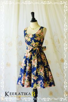 My Lady  Navy With Floral Sundress Prom by LovelyMelodyClothing