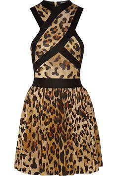 BALMAIN Leopard-print jersey mini dress $886.5 http://www.theoutnet.com/products/562319