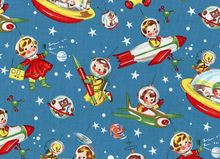 Retro Rocket Rascals Cotton Fabric Blue