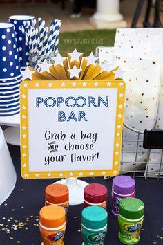 DIY Outdoor Movie Party Ideas   AmysPartyIdeas.com   Popcorn Bar   #DataAndAMovie