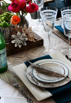 Thanksgiving Table Decor - Book Page Table Runner, Flowers & Feathers