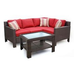 Hampton Bay Beverly All-Weather Wicker 5-Piece Sectional Patio Set