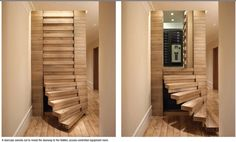 Loft Stairs, House Stairs, Stairs Architecture, Interior Architecture, Escalier Design, Warehouse Design, Safe Room, Hidden Rooms, Secret Rooms