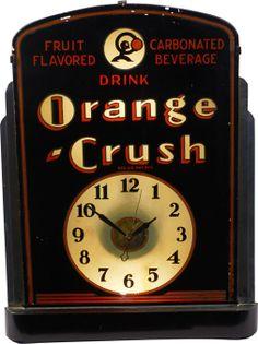 """""""Drink Orange Crush"""" Countertop Reverse On Glass Metal Vintage Advertising Signs, Vintage Signs, Vintage Advertisements, Vintage Clocks, Rock Around The Clock, Home Clock, Unusual Clocks, Neon Clock, Clock Display"""