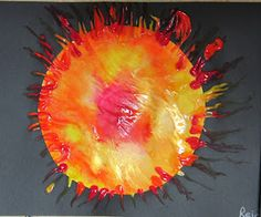 Sun Fingerpainting: Squirt paint on paper circle, cover with plastic wrap. Kids smoosh paint around to cover.  Lift plastic wrap, glue to black paper.  Give kids q-tip dipped in paint to make sun rays.