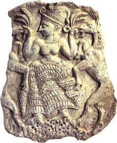 Syria - carving of the mother goddess Asherah - detail from an ivory box from Mīnat al-Bayḍāʾ near Ras Shamra (Ugarit), c. Ancient Goddesses, Gods And Goddesses, Egyptian Mythology, Egyptian Goddess, Egyptian Art, Ancient Aliens, Ancient History, Ancient Egypt, European History