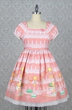 Macaron and Tea Onepiece Dress in Pink,  Onepiece, R Series gothic kawaii sweet Lolita Collective