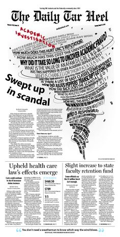 Swept up in scandal – UNC academic/athletic investigation – The Daily Tar Heel Crea Design, Pub Design, Book Design, Design Editorial, Editorial Layout, Typography Poster, Typography Design, Lettering, Text Layout
