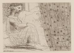 Credit: Succession Picasso/DACS 2011 Woman watching a sleeping minotaur behind a patterned curtain; plate 86 of the Vollard Suite, 18 May 19...