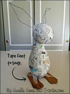 How To Make An Adorable Papier Mâché Bunny - My Humble Home and Garden - Papier mache Paper Mache Diy, Paper Mache Projects, Making Paper Mache, Paper Mache Sculpture, Paper Clay, Diy Paper, Paper Crafting, Paper Art, Diy Projects