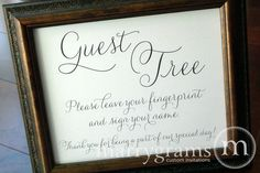 Alternative Guest Book Table Sign - Fingerprint Guest Tree Sign - Wedding Reception Seating Signage - Matching Numbers Available SS01. $10.00, via Etsy.