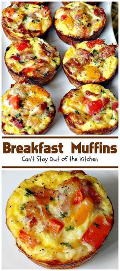 Breakfast Muffins   Can't Stay Out of the Kitchen   these #muffins are so cute and irresistible. They have a hash brown crust filled with bacon eggs and cheese. Every mouthful is so scrumptious you won't want to stop at just one!#breakfast