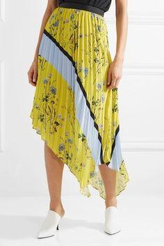 Self-Portrait - Asymmetric Pleated Printed Crepe De Chine Midi Skirt - Yellow  Ассиметрическая юбка. Желтая.