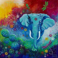 """The Elephant and the Dragonfly"" by Susan Farrell. Art Prints available. susanfarrellart.com.au"