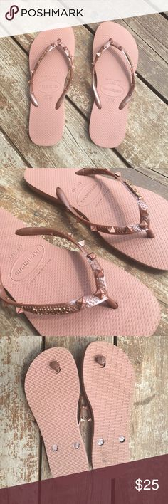 LIMITED EDITION HAVAIANAS Awesome pair of Preloved rose colored HAVAIANAS with rose gold pyramid spikes in a size 37-38 or US 7/8. Super cute on! ☀️POSH ONLY☀️ Havaianas Shoes Sandals