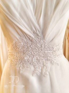 Joanne Fleming Design; silk chiffon and lace bodice detail