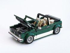 Instructions are on the App Store and on Rebrickable. Vw Golf Cabrio, Volkswagen Golf Mk1, Vw Mk1, Cool Lego, Awesome Lego, Lego Design, Lego Models, Lego Moc, Lego Instructions