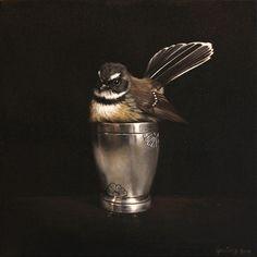 'Cute in a Cup' by New Zealand artist Jane Crisp. via Soul Gallery Contemporary Artwork, Contemporary Artists, New Zealand Art, Nz Art, Great Paintings, Bird Drawings, Bird Art, Beautiful Birds, Mixed Media Art