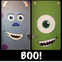 Halloween door decorations. Just use plastic tablecloths for the background and make paper faces.
