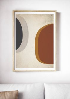 Large Abstract Mid Century Modern Print | Mid Century Modern Art | Abstract Geometric Wall Art | Blue Red Orange | Navy Art | Beige Red Art  ---All Artwork is Printed on High Quality, 56 lb Premium Pro Matte Paper using Premium Quality Ink ---FREE Standard Shipping Anywhere in the