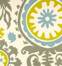 Suzani Summerland  Floral (ONE YARD 36 x 58) 100% Cotton Duck by Premier Prints - Blue Gold Cream Grey via Etsy