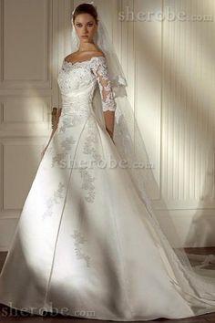 Robe de mariée avec toile en 1/2 manche epaule nue ligne a en satin - Photo 1