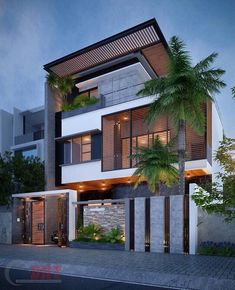 The modern home exterior design is the most popular among new house owners and those who intend to become the owner of a modern house. Modern Exterior House Designs, Modern House Facades, Dream House Exterior, Exterior Design, Gate Designs Modern, Exterior Colors, 3 Storey House Design, Bungalow House Design, House Front Design