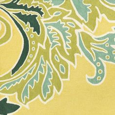 ornamental leaf border rug (yellow) from Thos. Baker
